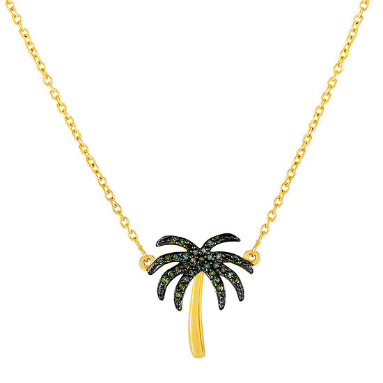 1/10 CT. T.W. Color-Enhanced Green Diamond Palm Tree Necklace