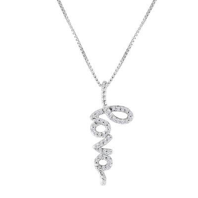 1/10 CT. T.W. Diamond Sterling Silver Love Pendant Necklace
