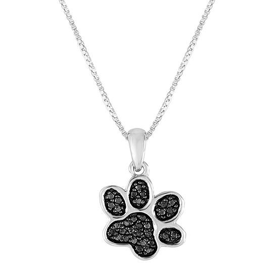 1/10 CT. T.W. Color-Enhanced Black Diamond Sterling Silver Paw Pendant Necklace