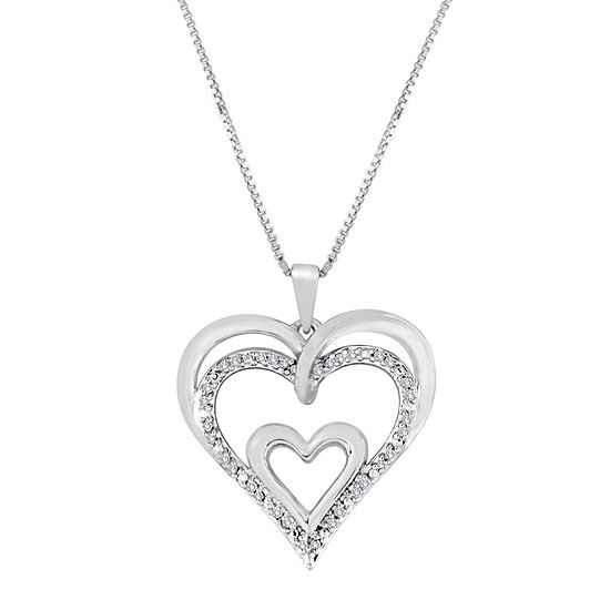 1/10 CT. T.W. Diamond Sterling Silver Openwork Triple-Heart Pendant Necklace