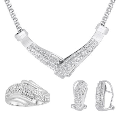 1/4 CT. T.W. Diamond Silver Over Brass 3-pc. Jewelry Set
