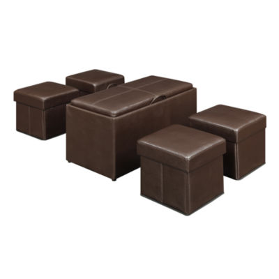 Convenience Concepts Manhattan Storage Bench w/ 4 Collapsible Ottomans
