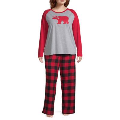 North Pole Trading Co. Buffalo Plaid Family Womens-Plus Pant Pajama Set 2-pc. Long Sleeve