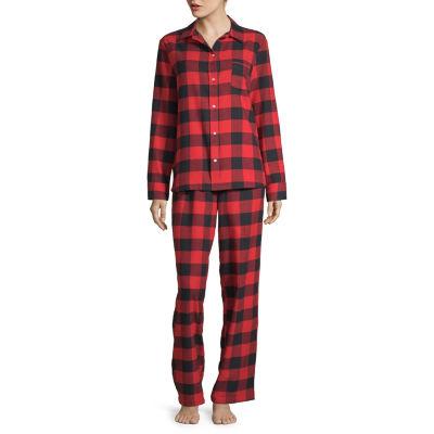 North Pole Trading Co. Buffalo Plaid Family Womens-Petite Pant Pajama Set 2-pc. Long Sleeve