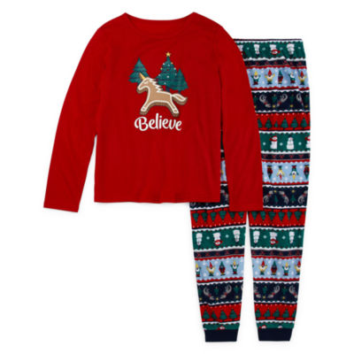 North Pole Trading Co. Fun Fairisle Family Girls 2-pc. Pant Pajama Set Big Kid Plus