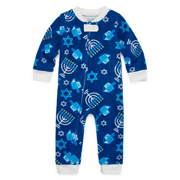 Hanukkah Family Unisex Kids Microfiber One Piece Pajama Long Sleeve