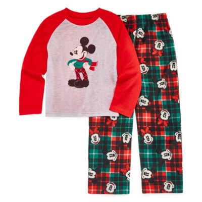 Disney Mickey Mouse Family Graphic Tee Boys 2 Piece Pajama Set