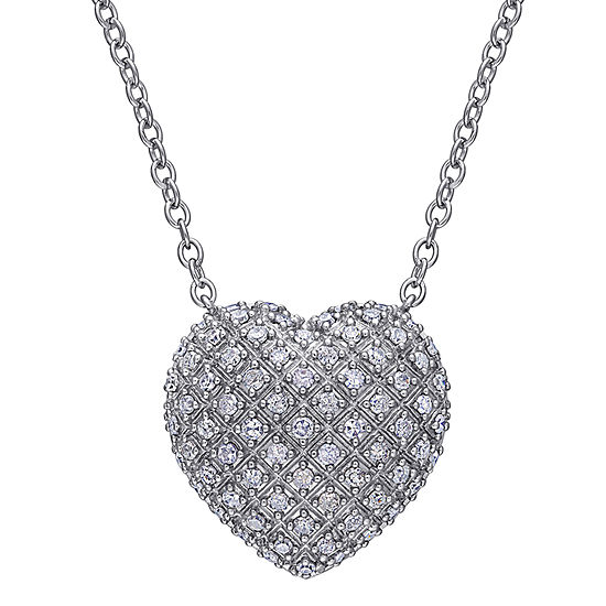 Womens 1 CT. T.W. Genuine White Diamond Sterling Silver Heart Pendant Necklace