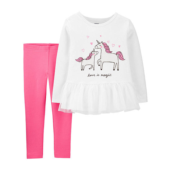 Carter's Girls Unicorn 2-pc. Pant Set Toddler