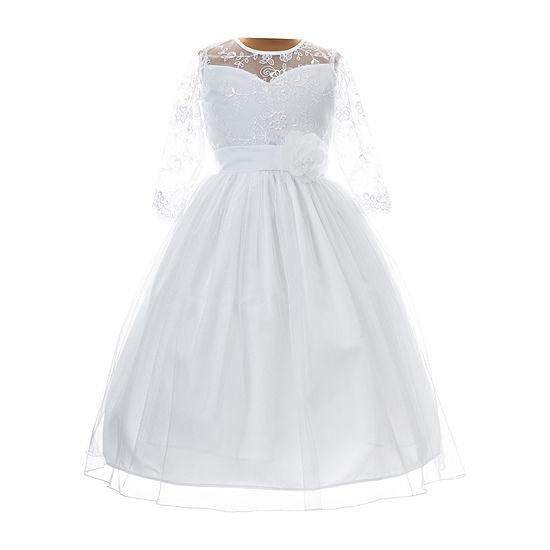 Keepsake First Communion Girls 3/4 Sleeve Fitted Sleeve A-Line Dress - Preschool / Big Kid