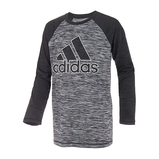 adidas Boys Crew Neck Long Sleeve Graphic T-Shirt - Preschool