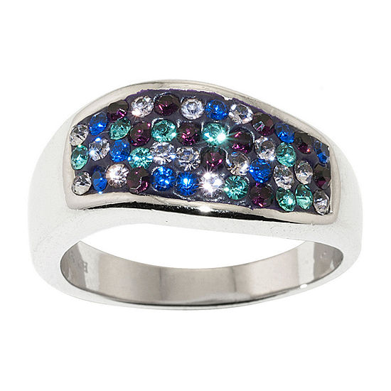 Sparkle Allure Pure Silver Over Brass Multi Color Crystal Ring