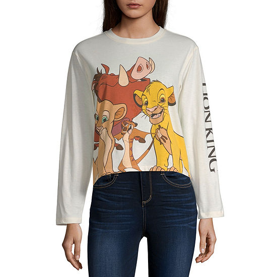 Juniors Lion King Womens Crew Neck Long Sleeve The Lion King Graphic T-Shirt