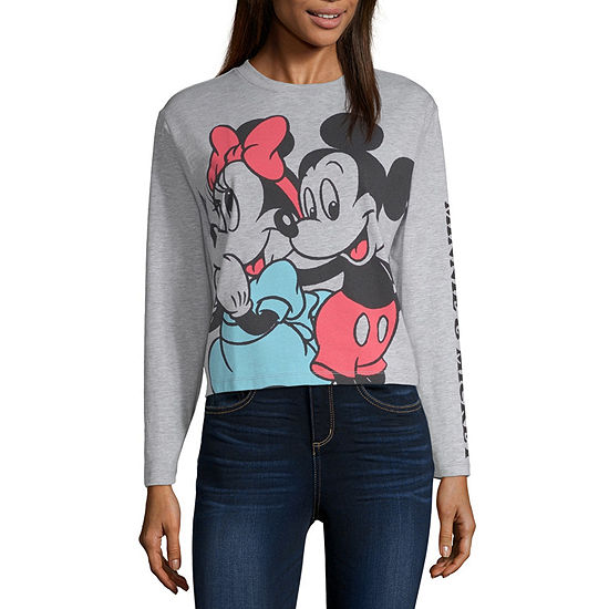 Juniors Mickey Mouse Womens Crew Neck Long Sleeve Mickey and Friends Graphic T-Shirt