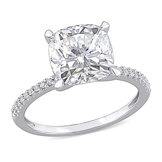 Womens 3 1/2 CT. T.W. Lab Created White Moissanite 14K White Gold Engagement Ring