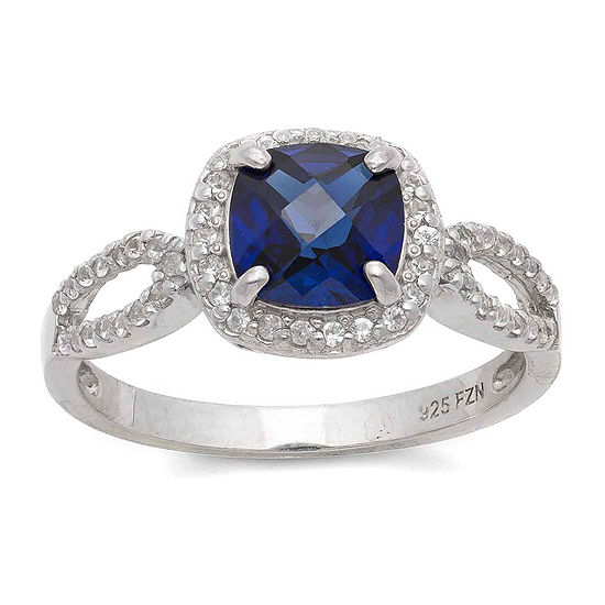 Lab Created Blue & White Sapphire Sterling Silver Ring