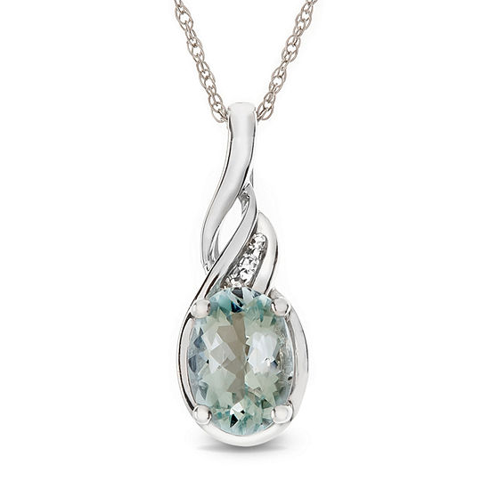 Womens Diamond Accent Genuine Blue Aquamarine 10K Gold Pendant Necklace