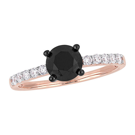 Womens 1/4 CT. T.W. Genuine Black Diamond 14K Rose Gold Solitaire Engagement Ring