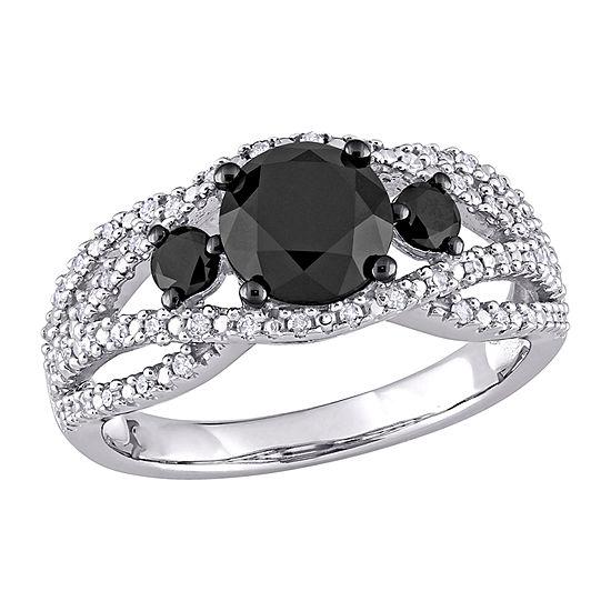 Womens 1/5 CT. T.W. Genuine Black Diamond 10K White Gold Engagement Ring
