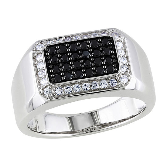 Mens Genuine Black Spinel Sterling Silver Fashion Ring