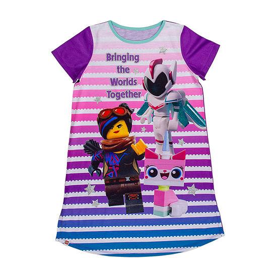 Lego Movie 2 Little Girls Knit Lego Short Sleeve Crew Neck Nightshirt
