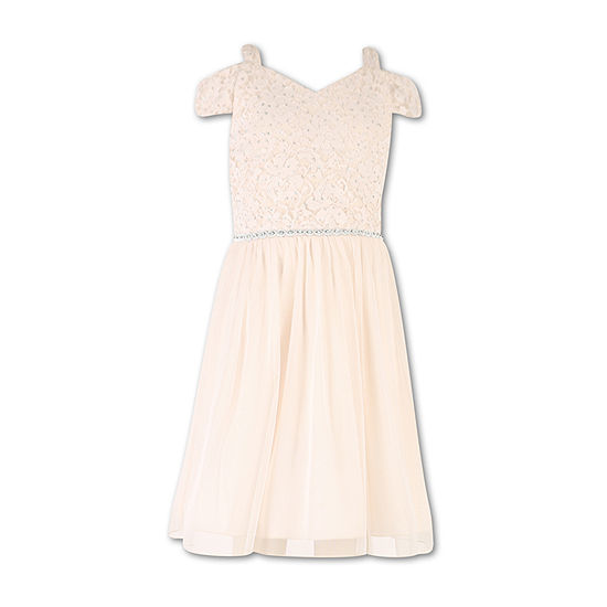 Speechless Little & Big Girls Short Sleeve Cold Shoulder Sleeve Party Dress