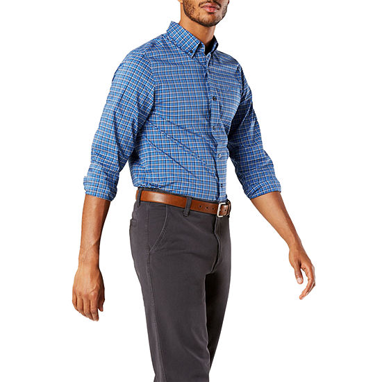 Dockers Stretch Signature Mens Long Sleeve Plaid Button-Down Shirt