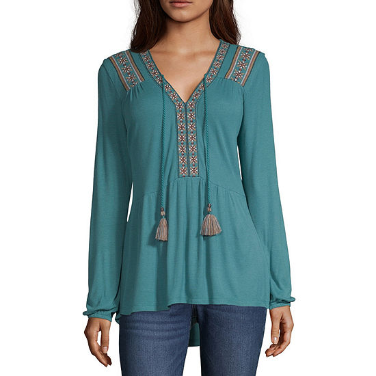 Artesia Womens V Neck 3/4 Sleeve Knit Blouse