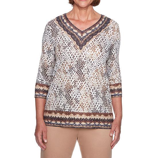Alfred Dunner-Womens V Neck 3/4 Sleeve T-Shirt