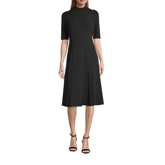 London Times Short Sleeve Midi Fit & Flare Dress