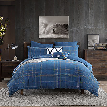 Swift Home Marvelous Caspian Cotton Blend Textured Slub Plaid 3-Piece Midweight Down Alternative Comforter Set