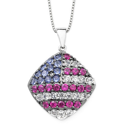 Lab-Created Blue/White Sapphire & Ruby USA Cushion Pendant Necklace