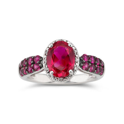 Lab-Created Oval Ruby & Diamond-Accent Ring