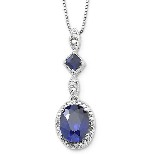 Lab-Created Blue Sapphire & Diamond-Accent Pendant Necklace