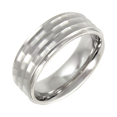 Mens 8mm Comfort Fit Hammered Stainless Steel Wedding Band