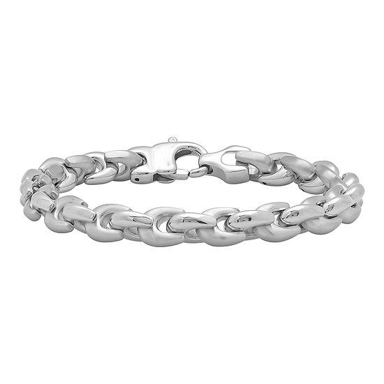 Mens Stainless Steel Wishbone-Link Bracelet