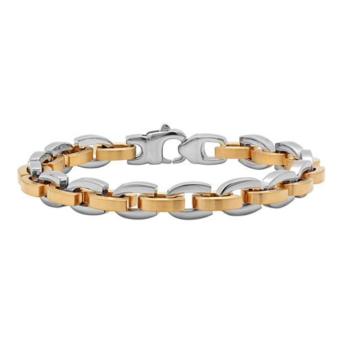 Mens Two-Tone Stainless Steel D-Link Bracelet