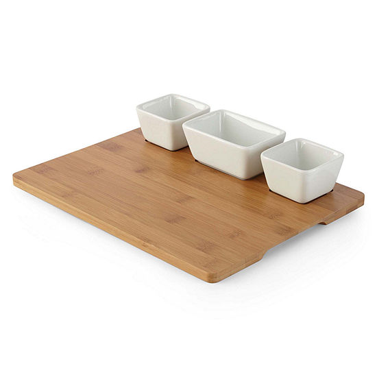 JCPenney Home™ Whiteware Bowls on Bamboo Tray