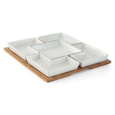 JCPenney Home™ Whiteware Divided Server on Bamboo Tray