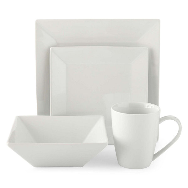 JCPenney Home™ Porcelain Whiteware 32-pc. Square Dinnerware Set - Service for 8  sc 1 st  JCPenney & JCPenney Home 32 Piece Square Dinnerware Set