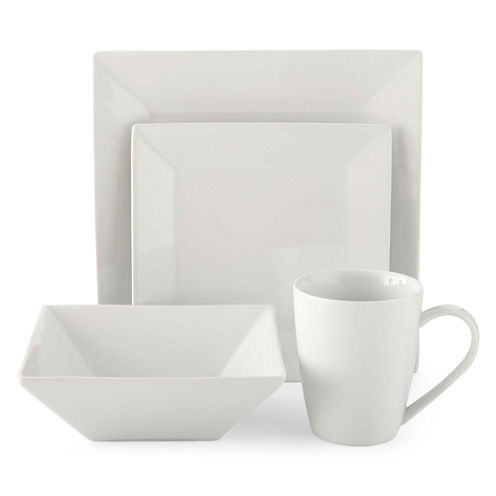 JCPenney Home™ Porcelain Whiteware 32-pc. Square Dinnerware Set - Service for 8