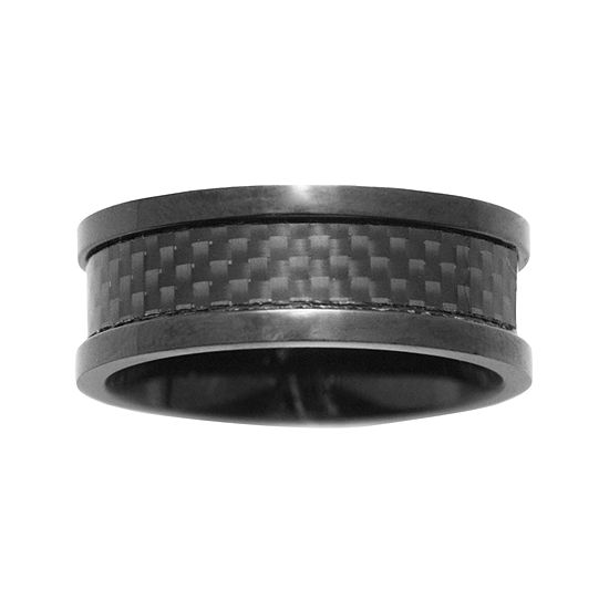 Mens 8mm Black Ceramic Wedding Band