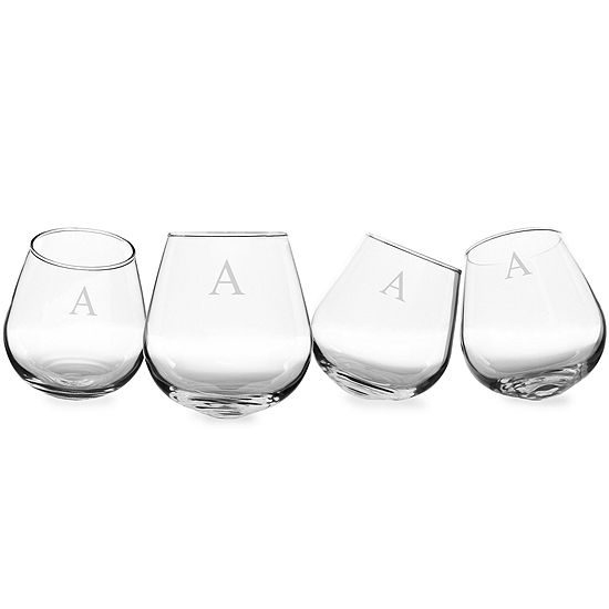 Cathy's Concepts Personalized Set of 4 Tipsy Wine Glasses