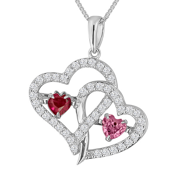Love In Motion™ Lab-Created Ruby, Pink & White Sapphire Sterling Silver Double Heart Pendant Necklace