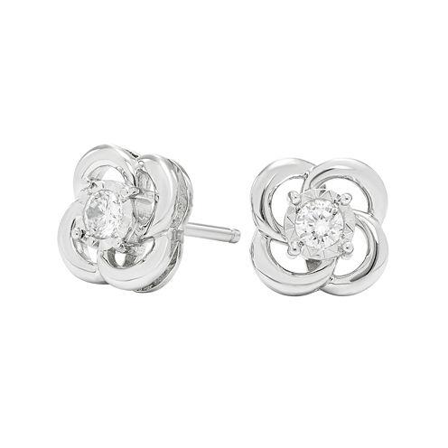 1/6 CT. T.W. Diamond 10K White Gold Stud Earrings