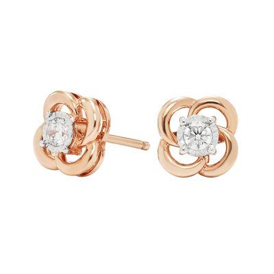 1/6 CT. T.W. Diamond 10K Rose Gold Stud Earrings