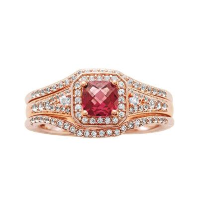 1 1/4 CT. T.W. Diamond and Genuine Rhodolite 10K Rose Gold  Bridal Ring