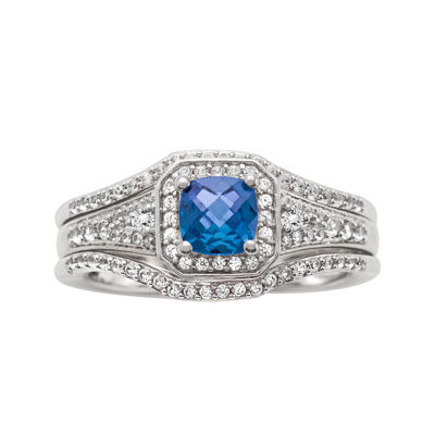 1 CT. T.W. Diamond and Genuine Blue Sapphire 10K White Gold Bridal Ring