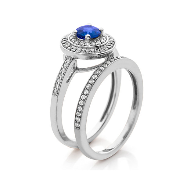 1/3 CT. T.W. Diamond and Genuine Blue Sapphire 10K White Gold Bridal Ring Set