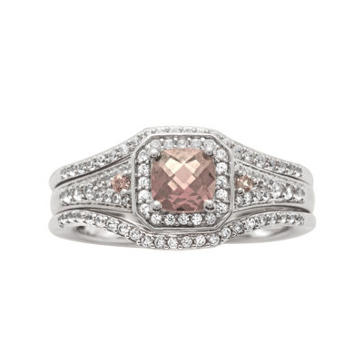 1 1/4 CT. T.W. Diamond and Genuine Pink Morganite Sterling Silver Bridal Ring